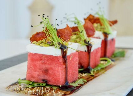 Watermelon salad with feta and mint leaves