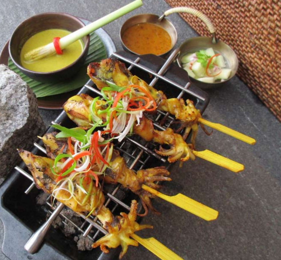 Charcoal squid satay