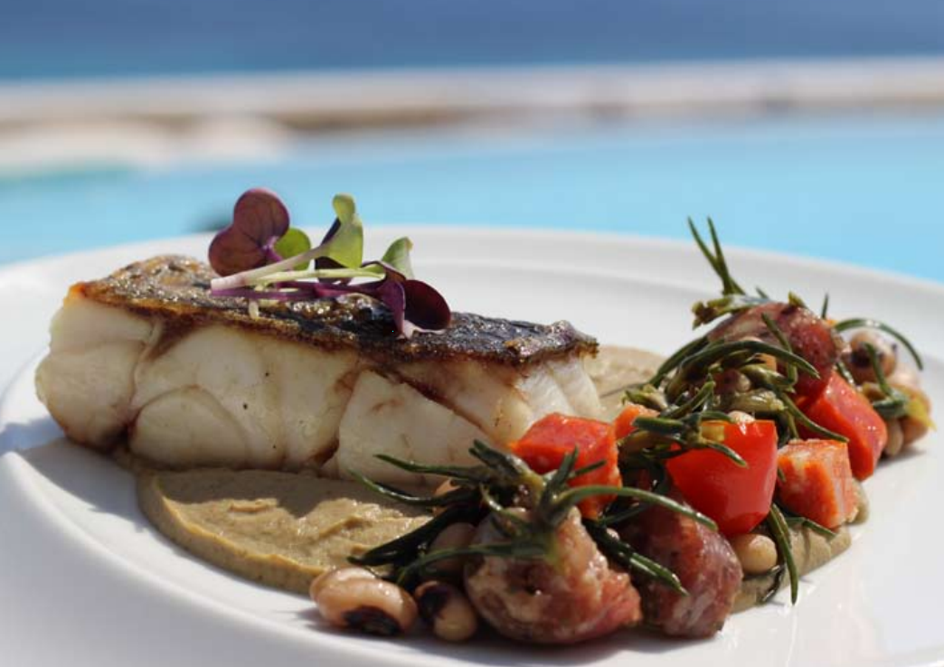 Grouper fillet with Mykonian sausage